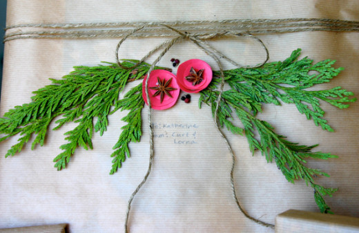 Creative way to replicate Holly at Christmas - with Cedar leaves and star anise.