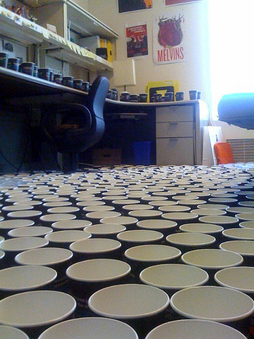 Hundreds of cups of water in an office :)