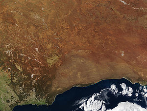 The true Nullarbor is the light tan semi-circular area adjacent to the coast