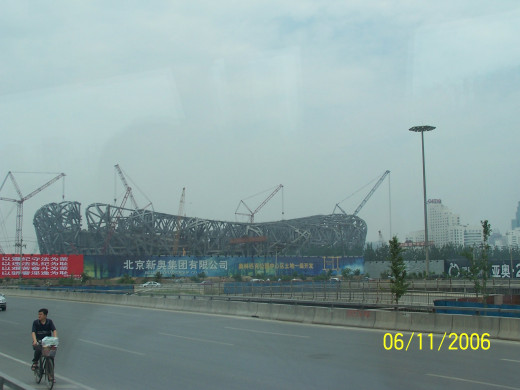 Bird's nest stadium under construction