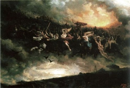 Painting of The Wild Hunt by Artist: Peter Nicolai Arbo (Norway 1831-1892)