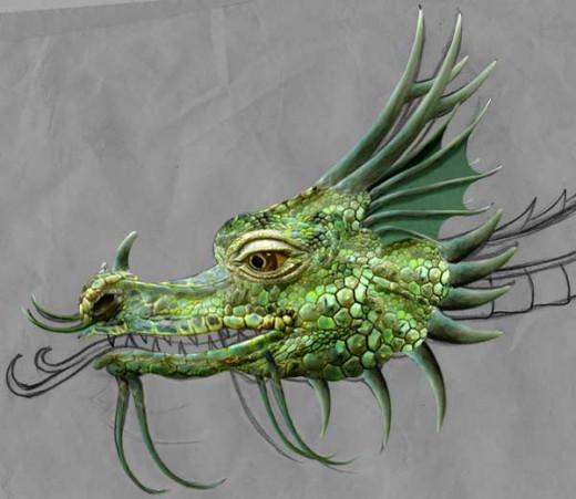 Iguana at Bogazici Zoo, modified to a Dragon image.  http://commons.wikimedia.org/wiki/File%3ADragon_03442.jpg