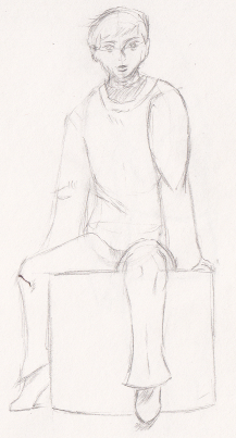 Foreshortened Drawing from closer to end of book.