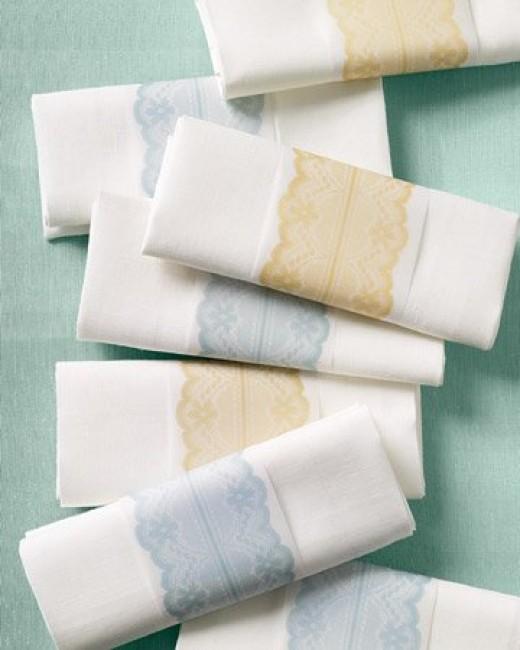 Modern lace design to dress up napkins. Source: MarthaStewart.com. See link below for directions.