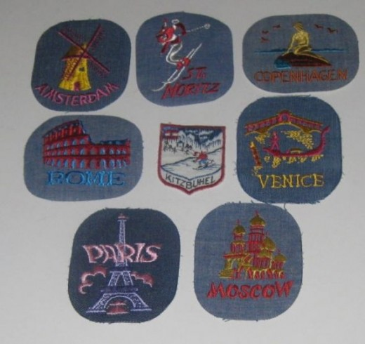 Sew on patches of European cities and Moscow.