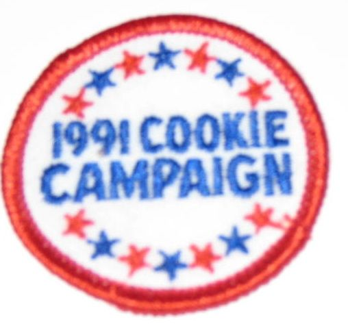 Vintage sew on patch for 1991 Girl Scout Cookie Campaign.