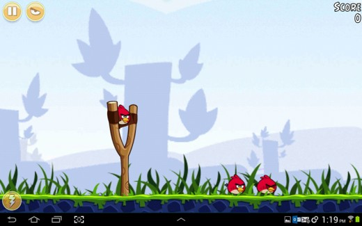 Playing Angry Birds on my Galaxy Tab.