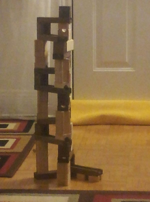 Tall construction with marble run