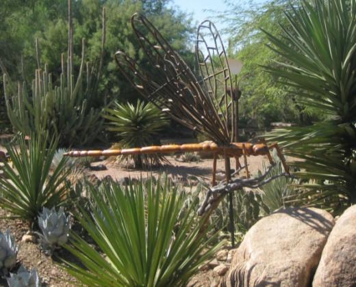 Big Bug / damselfly sculpture at the Desert Botanical Garden, Phoenix, Arizona, amid the desert landscape.