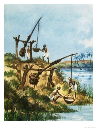 Early Egyptians Using a System of Weights and Poles Called Shadoofs to Get Water from the Nile