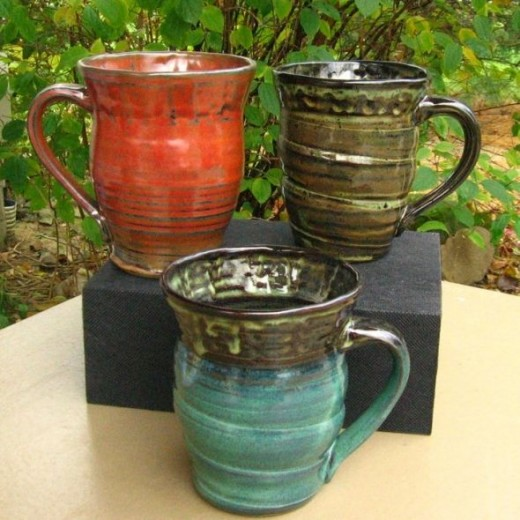 Mixed set of stoneware mugs by Tracy Shea