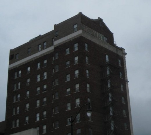 "Ghost sign ""Hotel"" on brick building in Springfield, IL."