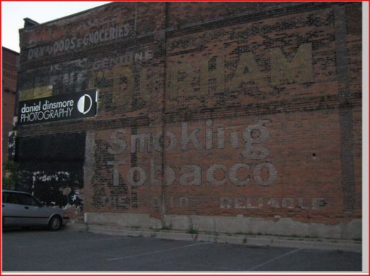 Bull Durham smoking tobacco ghost sign.