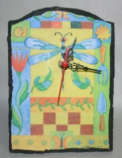 dragonfly slate wall clock