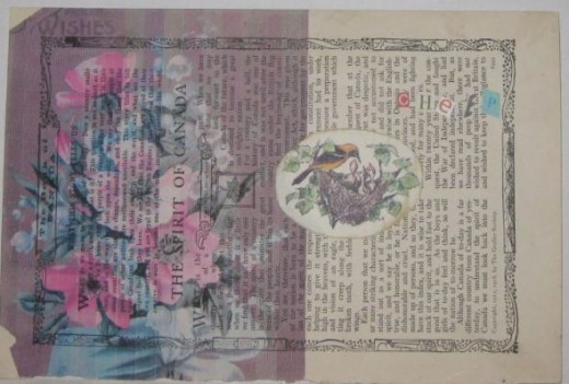 """Art collage of floral graphics printed on ephemera with clip art and letters spelling """"cheep.""""All of these photos by Peggy Hazelwood."""