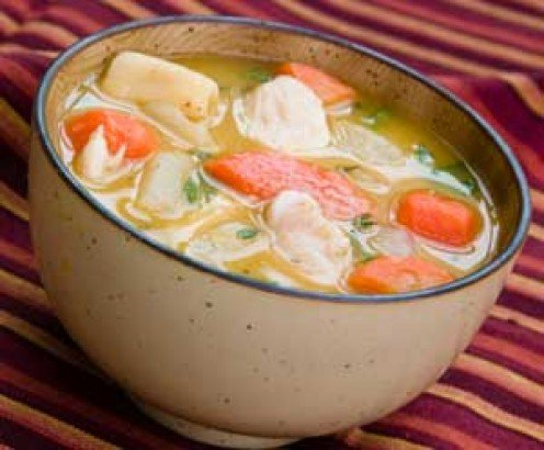 Chicken soup with carrots and dumplings