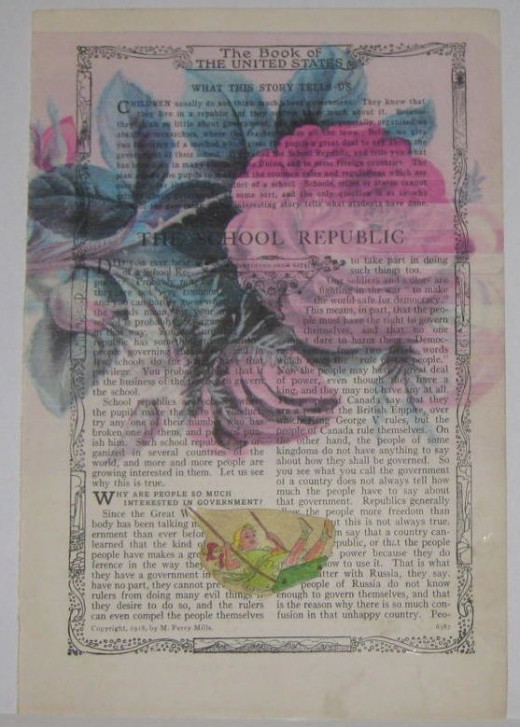 Book page art collage with vintage graphics.