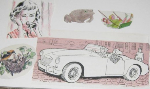 I selected some book illustrations to glue on the collage.