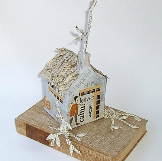 Altered art, mixed media, collage all shown off in this three-dimensional art piece by Gathered Together. See link below.