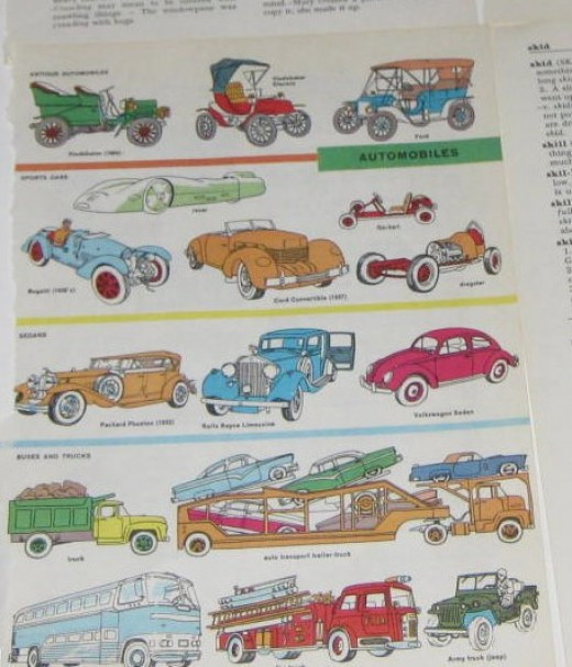 Child's book color illustrations for art collages.