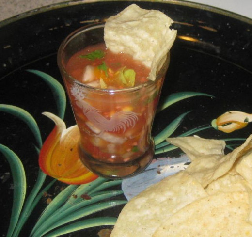 Cocktail gazpacho and chips