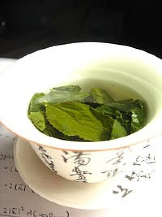 Green Tea Leaves Steeping