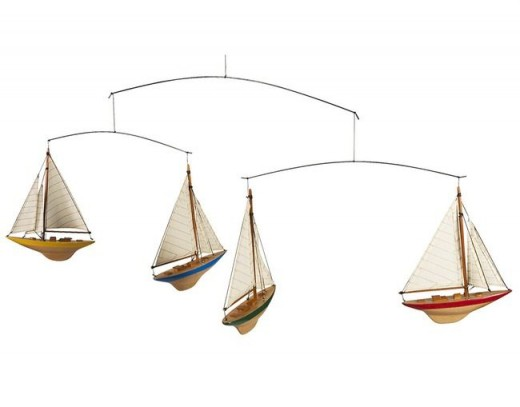 Perfect for nautical themed baby nurseries, this a-cup mobile is made from solid wood and was modeled after real 1932 America's Cup racing yachts!