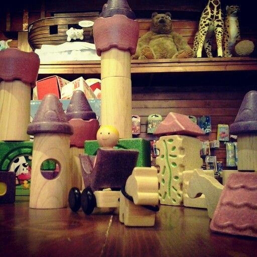 A wooden block set fit for an eco-friendly princess! These wooden fairytale-themed blocks by Plan Toys is part of their sustainable eco toys line.