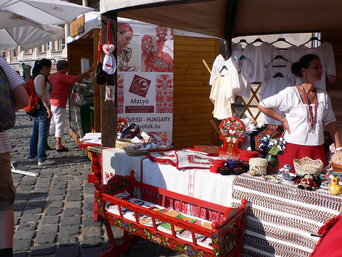 All over the country, crafts are sold by individuals hawking their wares. When I visited Hungary, there were roadside purveyors of tablecloths and clothing. Of course, shops abound, but it is fun to buy something from a local craftsperson.