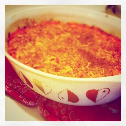 Casserole baked in an old style Pyrex baking dish.