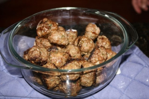 Our completed kefta meatballs. We took these to a potluck dinner along with a box of toothpicks. They were a big hit.