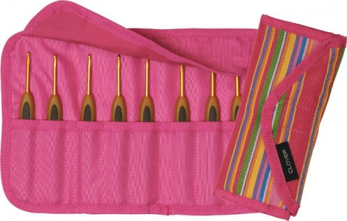 Pink and colorful handy case to use along with the 8 included Soft Touch crochet hooks