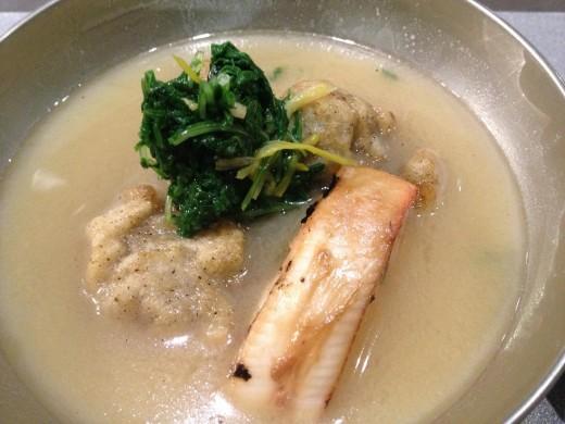 White miso, Saikyo miso, Monchong Hawaiian Fish, Oyster garnished with Mizuna, Corn Sprouts, Kuzu Pepper.