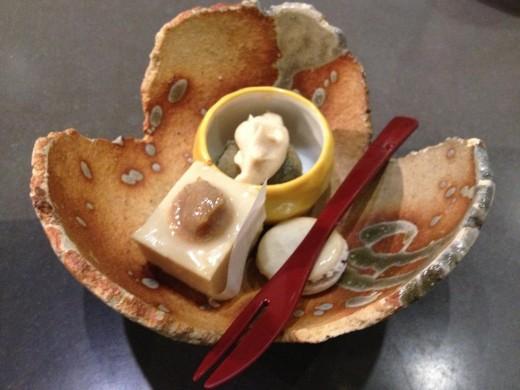 Dessert ~  Okinawan Purple Sweet Potato, White Chocolate Macaroon,  Cheesecake Dried Persimmon Frosting, Kabocha Black Sesame, Ice Cream with topping.
