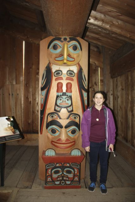 This is one of four totem poles inside the Tlingit house.
