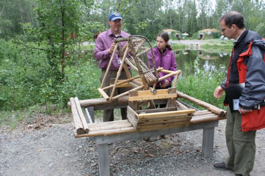Our guide explained how this Athabascan salmon wheel works. It is no longer legal to build one, but existing ones are still allowed on the waters.