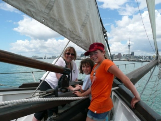Wind in our faces, I love spending a bit of time  with my girls at the bow (front) of the ship.