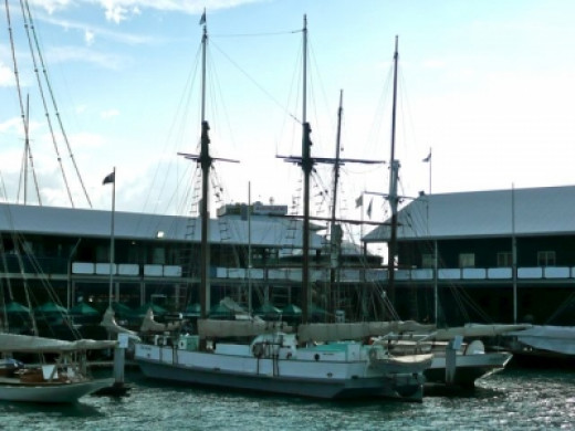 Docked for the night alongside the Breeze, with the Maritime Museum in the background.