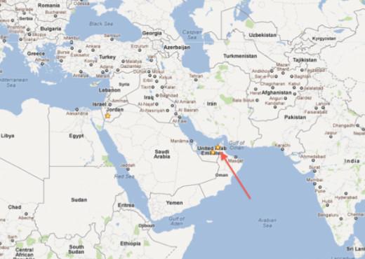 Map showing Dubai