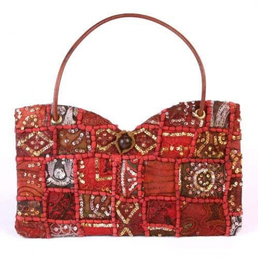 I want this red handbag with patchwork and sequins