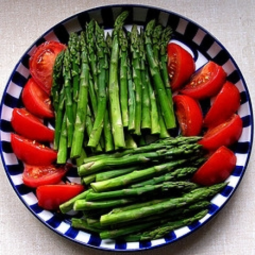 Vegetables: Asparagus and Tomato