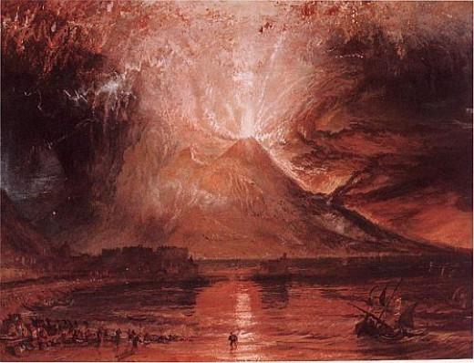 J.M.W. Turner. Vesuvius in Eruption. Watercolor and scraping out. 1817