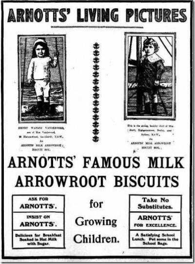 1914 vintage arrowroot biscuit ad