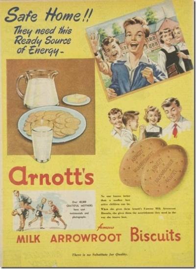 1955 vintage arrowroot biscuit ad