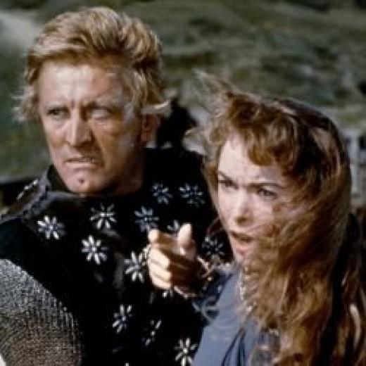 Kirk Douglas looking savage in 'The Vikings'