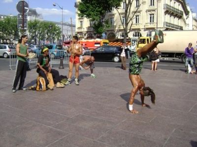 Capoeira dancers the day I arrived in Paris