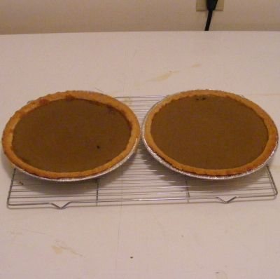 My pies all done and sitting on the rack to cool.