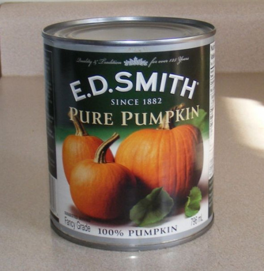 The canned pumpkin filling that I am currently using to make today's pies.