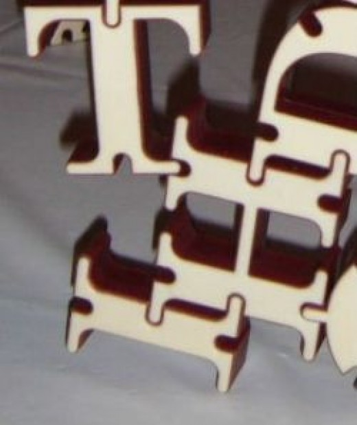 Close up of letter connected during play.