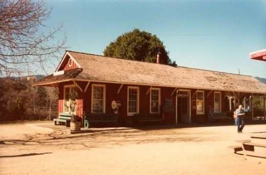 The train depot at Felton, California where the Roaring Camp Railroad sets off from